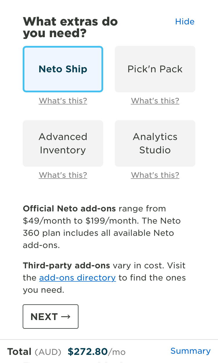 Screenshot of a Neto pricing calculator on mobile 1