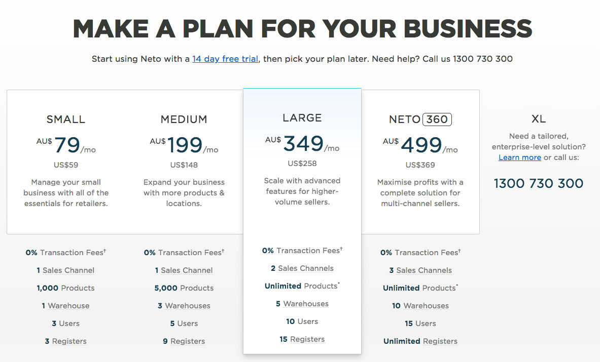 Screenshot of the Neto pricing plans
